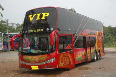 Red or Blue Double Deck bus called the VIP bus